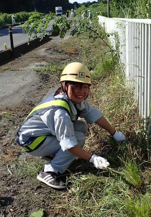 ガードパイプの草取り除き作業